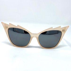 Cat Eye Reflective Sunglasses Trendy Cream